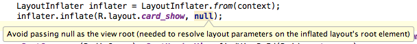 Avoid passing null as the view root (needed to resolve layout parameters on the inflated layout's root element)
